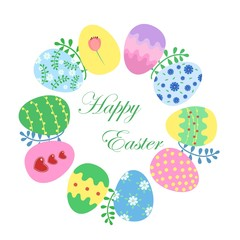 Easter card template with colored eggs. Vector illustration.