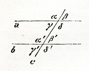 Parallel lines and pairs of angles (from Meyers Lexikon, 1896, 13/519)