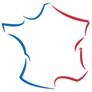 France contour stylisé tricolore 01