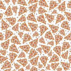 Seamless pattern of pizza slices