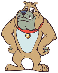 Friendly Cartoon Bulldog Mascot with Hands on Hips
