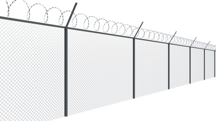 Barbed wire fence of restricted area, boundary. 3d illustration