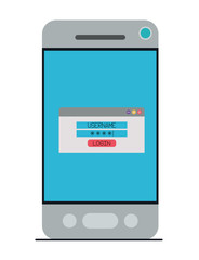 smartphone device with login menu vector illustration design