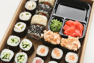 Closeup of set of sushi maki and rolls