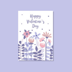Romantic greeting card with the inscription Happy Valentines day, trendy postcard vector Illustration, elegant design element with decorative flowers