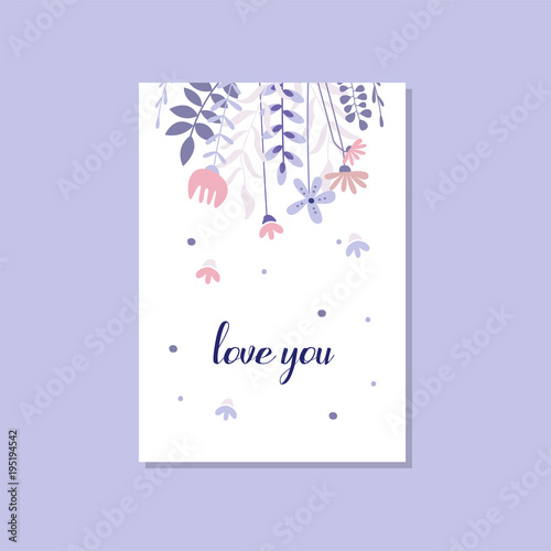 Romantic greeting card with the inscription love you trendy romantic greeting card with the inscription love you trendy postcard for valentines day birthday stopboris Image collections