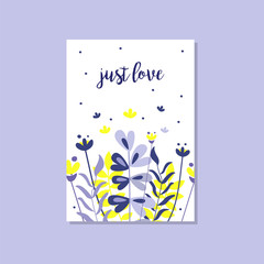 Romantic greeting card with the inscription Just love, trendy elegant postcard vector Illustration, design element with decorative flowers