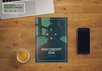 Brochure Layout with Green and Gray Elements 1
