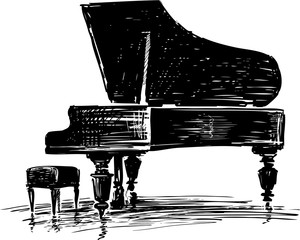 Sketch of a concert grand piano