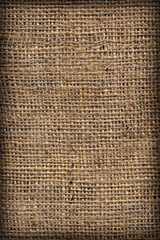 High Resolution Natural Brown Burlap Canvas Coarse Grain Vignette Grunge Background Texture