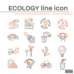 Line icons of ecology