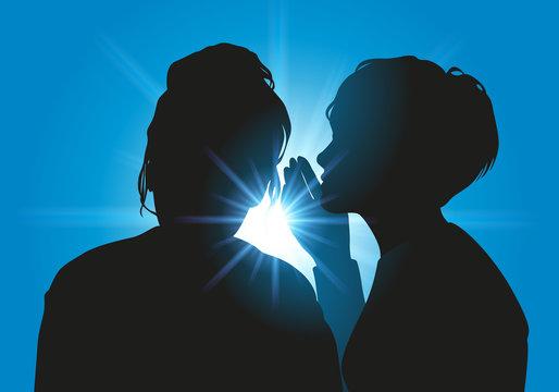 Secret - confidence - confidentiel - rumeur - amie - femme - cancan - information - info - commérage
