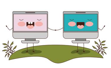 computers display couple kawaii characters vector illustration design