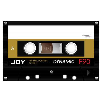 Audio cassette tape illustration isolated on white.
