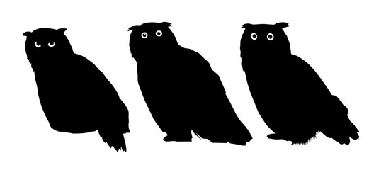 Vector owl silhouettes