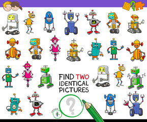 find two identical robots game for kids