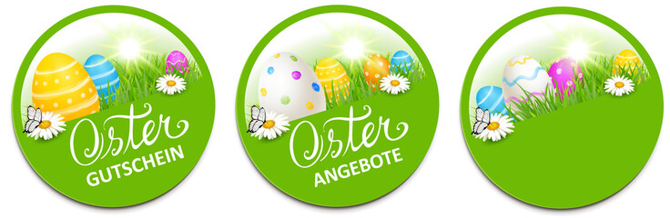 Button Set mit bunten Ostereiern und Blumenwiese - Ostern Gutschein, Osterangebot