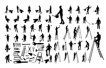 Set of working people silhouettes