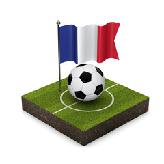 France flag football concept. Flag, ball and soccer pitch isometric icon. 3D Rendering