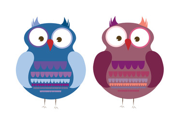 Vector illustration a pair of owls on white background.