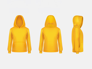 Vector yellow hoodie sweatshirt 3d realistic mockup template on white background. Fashion long sleeve, clothing hooded pullover front, back, side view. Unisex, women, men hoody, sportswear, outfit.