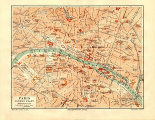 Central part of Paris ca. 1890 (from Meyers Lexikon, 1896, 13/530/531)