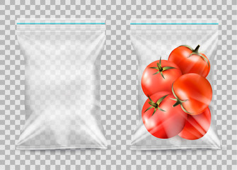 Polypropylene plastic packaging - nylon sack on transparent background. Vector illustration