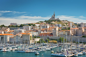 View of the old port of Marseille, France