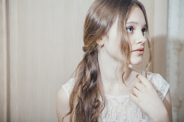 Portrait of a teen girl with long hair