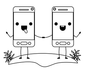 smartphones couple in field kawaii character vector illustration design