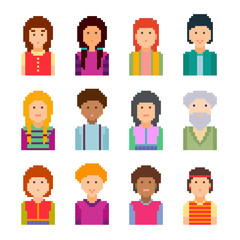 Pixel art style cartoon faces. Vector illustration. Collection of cute colourful  avatars