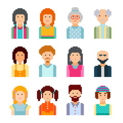 Pixel male and female faces avatars. 8 bit graphic style