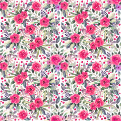 Seamless pattern with watercolor flowers, leaves