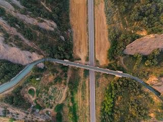 Aerial view of waterway