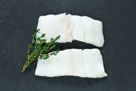 Raw haddock fillets - top view