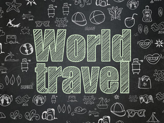 Vacation concept: Chalk Green text World Travel on School board background with  Hand Drawn Vacation Icons, School Board