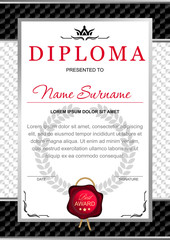 diploma in the official, solemn, elegant, Royal style in black and silver tones, with the image of the crown and red wax seal on the background of chess black and white texture