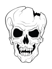 The skull of a grinning vampire. Vector monochrome illustration of a tattoo style isolated on a white background.