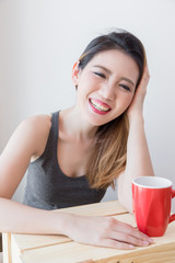 beautiful asian woman enjoy hot drink coffee tea in morining relax time