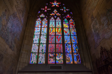 Stained glass in Saint Vitus cathedral in Prague