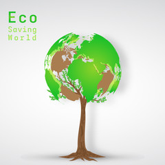 Green world tree as environment conservation , Eco and saving the earth concept , vector illustration.