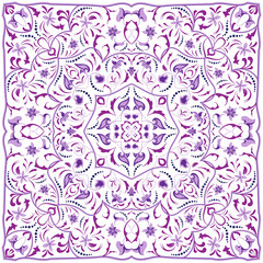 Square arabic pattern for the silk scarf, scarf, printing factory, carpet. Abstract ornament purple color. Vector illustration.