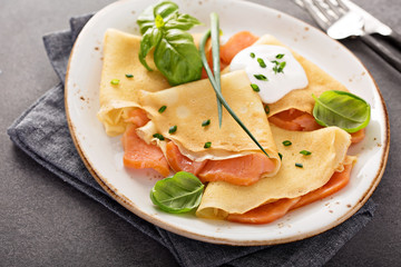 Savory crepes with salmon filling