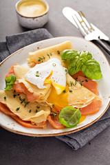 Savory crepes with salmon and egg