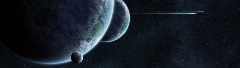 Panoramic view of planets in distant solar system 3D rendering elements of this image furnished by NASA