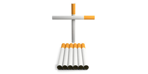 Smoking kills concept. Cigarettes isolated on white background. 3d illustration