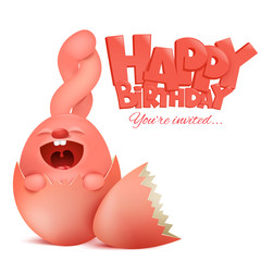 Birthday card with cute pink rabbit cartoon character sitting in egg