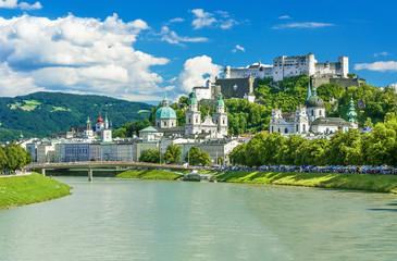 Beautiful view on Salzburg skyline with Festung Hohensalzburg in the summer, Salzburg, Austria