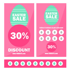 Easter sale banners with eggs - Promotion coupons with stickers and discount