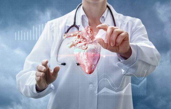 Doctor works with the donor heart .